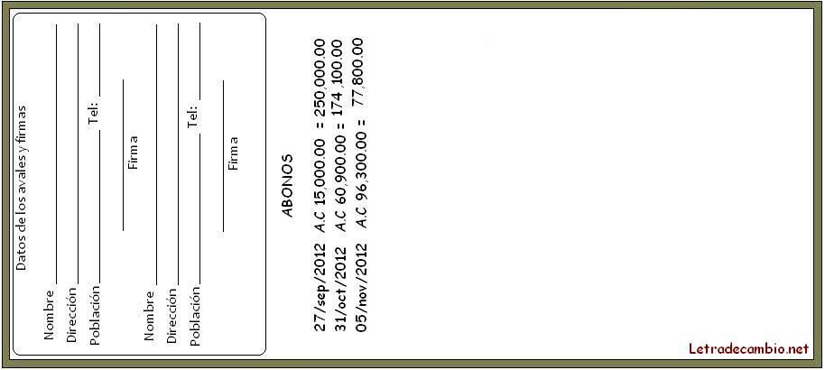 Ejemplo de la anotación de abonos en un pagaré